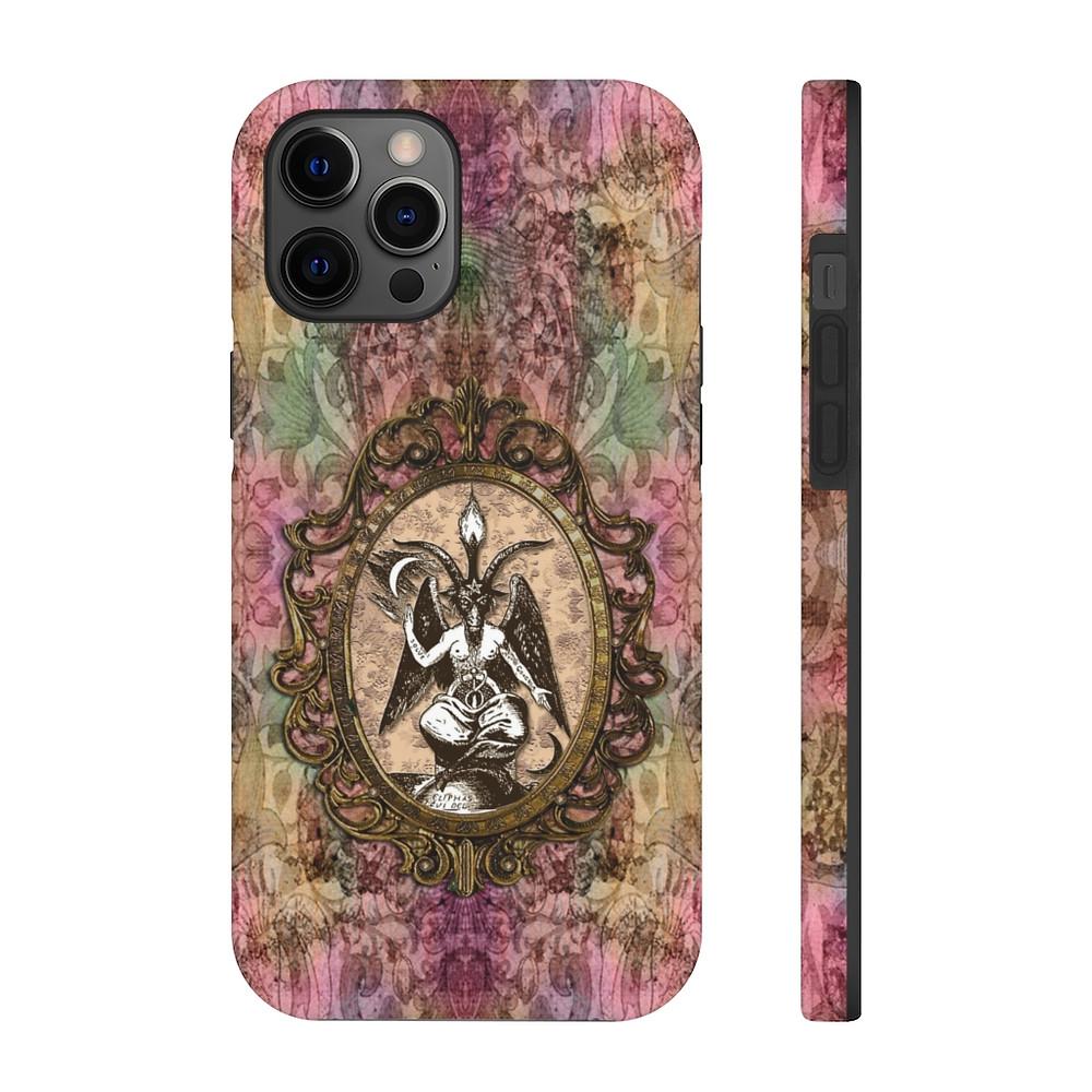 Retro Floral Baphomet Phone Cases