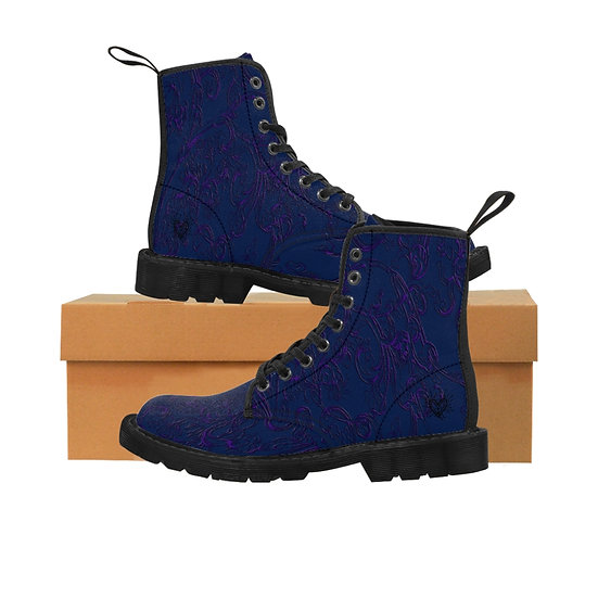 """Gothic Graffiti™ """"Electric Vines"""" (Midnight & Violet) Women's Canvas Boots"""