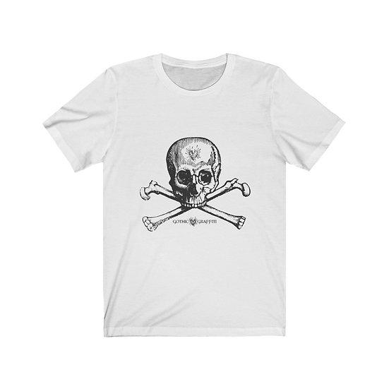 "Gothic Graffiti™ ""Create Thyself"" Skully Bones Unisex T-shirt (black on white)"