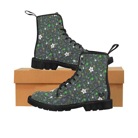 """Starflower"" Neon Green Stars Women's Canvas Boots"