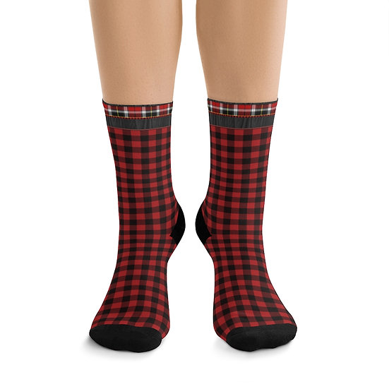 Gothic Graffiti™ Mixed Plaid Witchy Forest Socks (red)