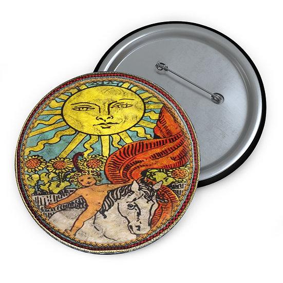 Tarot Card Button Pin-The Sun