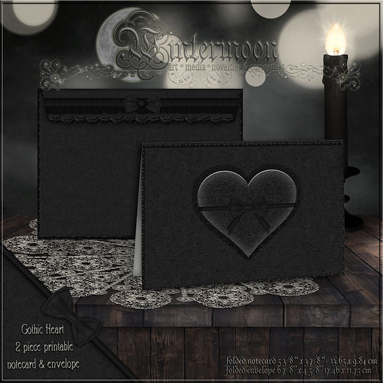Gothic Heart Printable Notecard & Envelope