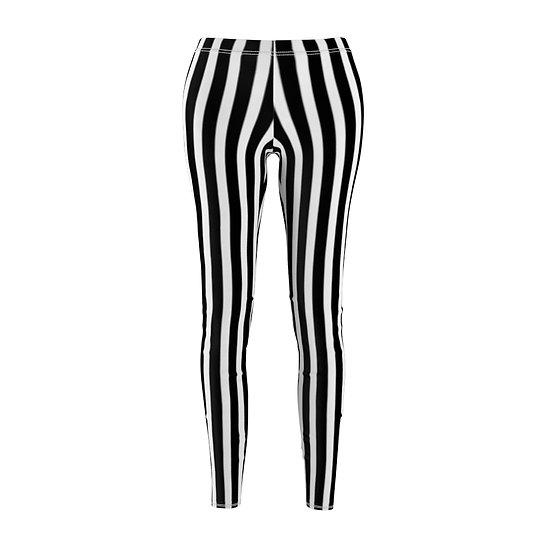 """Gothic Graffiti™ """"It's Showtime"""" Vertical Stripe Leggins (black/white)"""
