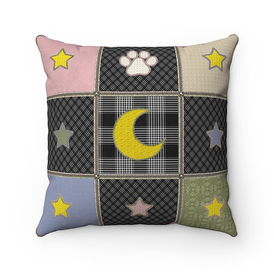 "Gothic Graffiti™ ""Kitty Majik"" Patchwork Inspired Square Pillow"