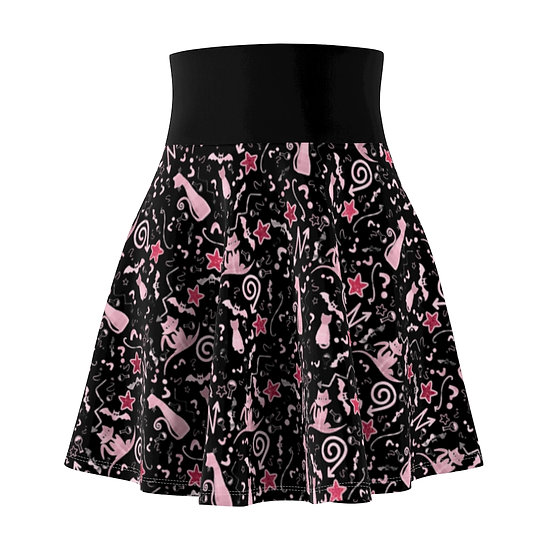 Gothic Graffiti™ Magical Glitter Cat Skater Skirt