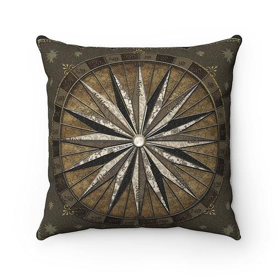 "Gothic Graffiti™ ""Nautical Star Compass"" Square Pillow"