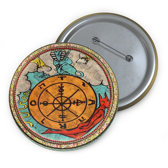 Tarot Card Button Pin-Wheel of Fortune