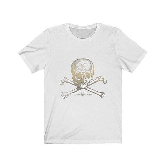 "Gothic Graffiti™ ""Create Thyself"" Skully Bones Unisex T-shirt (white gold)"