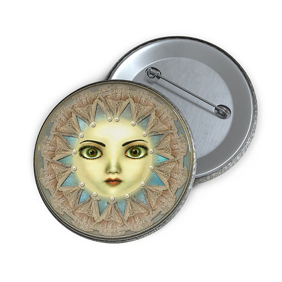 "Gothic Graffiti™ ""Summer Night Oracle Moon"" Button Pin"