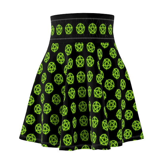 Gothic Graffiti™ Glowing Pentagram Skater Skirt (Neon Green)