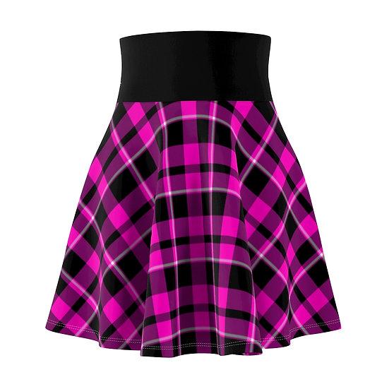 Gothic Graffiti™ Punk Rock Pink & Black Plaid Skater Skirt
