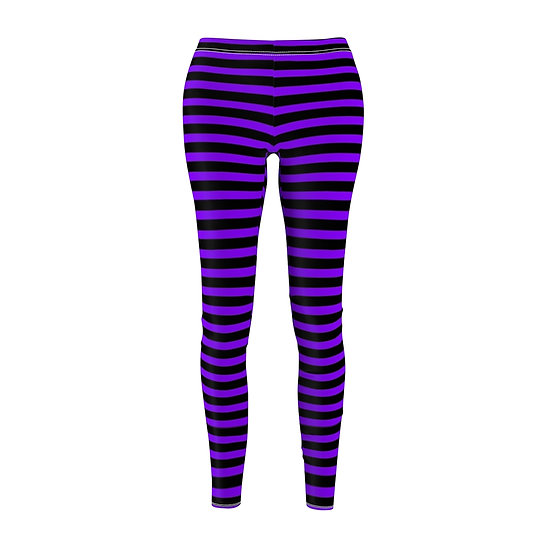 Gothic Graffiti™ Horizontal Stripe Leggins (black/purple)