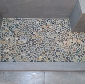 Pan- Island Pebbles Java Gray Rounded Perfect  Wall- Emser Uptown Hamilton 12x24