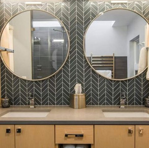 Emser Edge Gray Chevron Mosaic  Designer- G. Christianson Construction