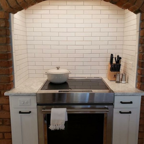Daltile Matte Arctic White 2x8 Field  Installed by Mitchel Tile Company