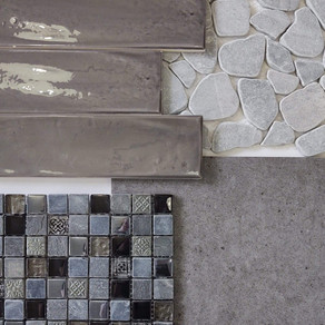 United Settecento New Yorker Charcoal 3x12  Emser Cultura Pebbles Silver   United Crossville Argent On the Rocks 12x12  Original Style Raipur Stone and Glass Mix