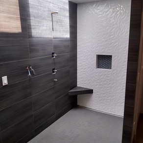 Back Wall- Emser Jazz Bloom 12x24  Side Walls- United Gazzini Met Antracite 12x24  Shower Floor- Florida Time 2.0 Carbon Natural 2x2 Mosaic  Niche Accent- Glazzio Crystile 1x3 Mosaic Eclipse  Floor- Florida Time 2.0 Carbon Natural 12x24  Designer- G. Christianson Construction