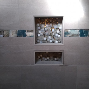 Wall- Emser Uptown Hamilton 12x24  Niche-United Lunada Bay Gendai Meier Natural   Accent Strip- Glazzio Magical Forest Crystal Lagoon 3x12