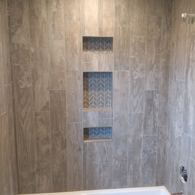 "Niche- Crossville Handwritten ""Dear Sir"" Diamond Mosaic  Walls- Dal Season Wood Orchard Grey"