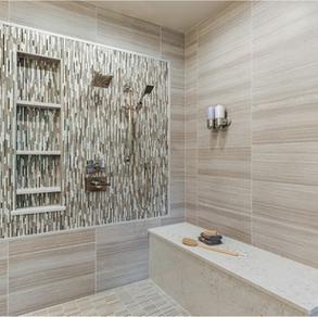 Wall: United Tile Eleganza Coastline Monterey 12x24  Floor: United Tile Eleganza Coastline Monterey 1x4 Mosaic  Accent:Glazzio Orbit Meteor Shower Mosaic Linear  Designer: Corvallis Custom Kitchens & Baths