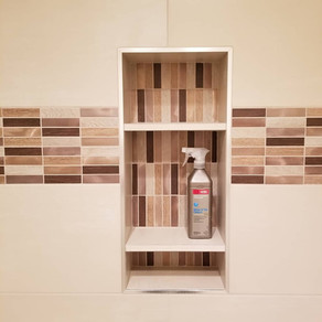 "Accent: Glazzio Maison de Luxe ""Gilden Sable"" Stacked Mosaic  Wall Tile: Dalt Skybridge Off White 12x24  Designer: Corvallis Custom Kitchens & Baths Installed by Davis Solutions"