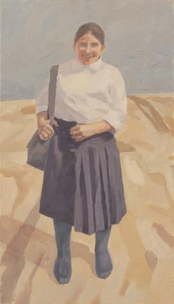 girl with purple skirt