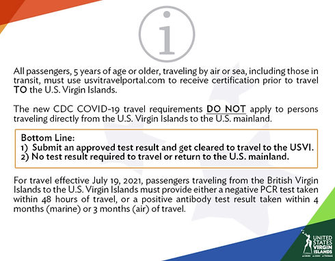 USVI Travel Requirements - Updated 15 July 2021