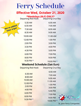 St. John Ferry Schedule (COVID Operations) - Updated 22 Oct 2020