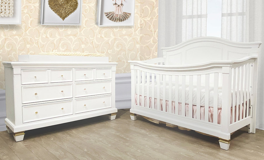 Glendale Victoria crib in white with gold accents