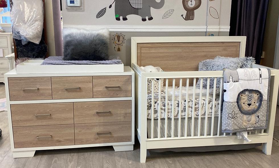 Birch Crib, Birch Dresser with a Free Simmons Crib Mattress