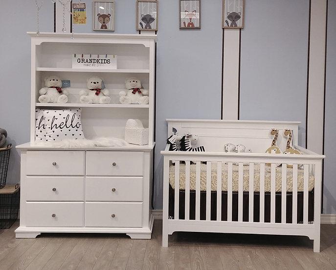 Corino crib with Devon Double Dresser in white