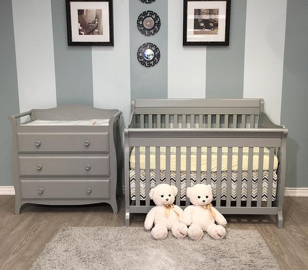 Naples Crib & Dresser Set in grey