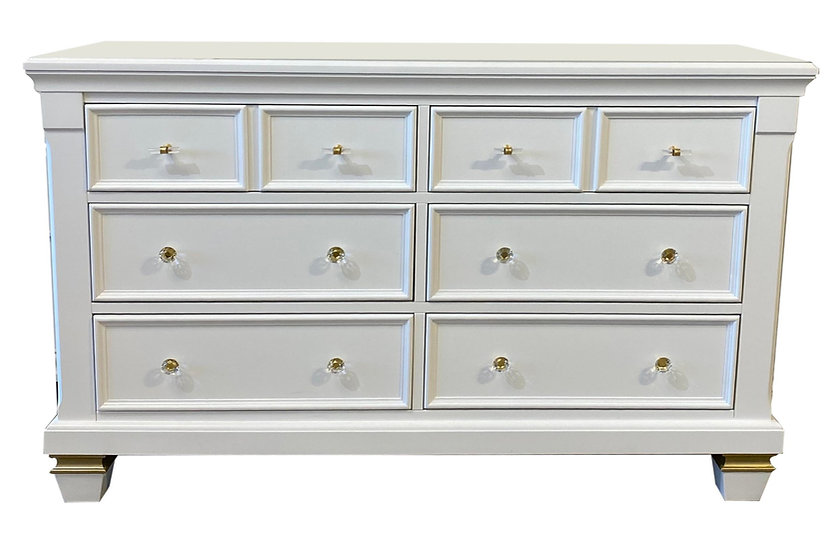 Glendale double dresser white and gold