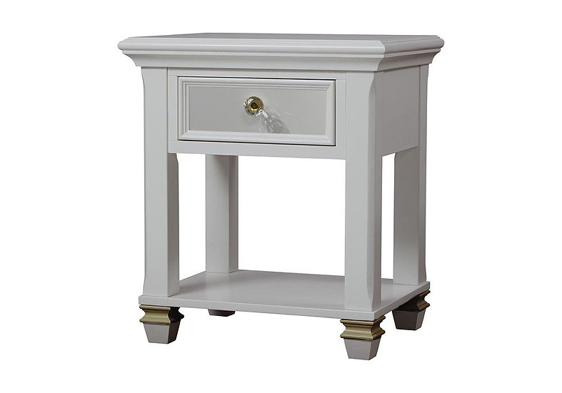 Glendale Night Stand in white and gold finish