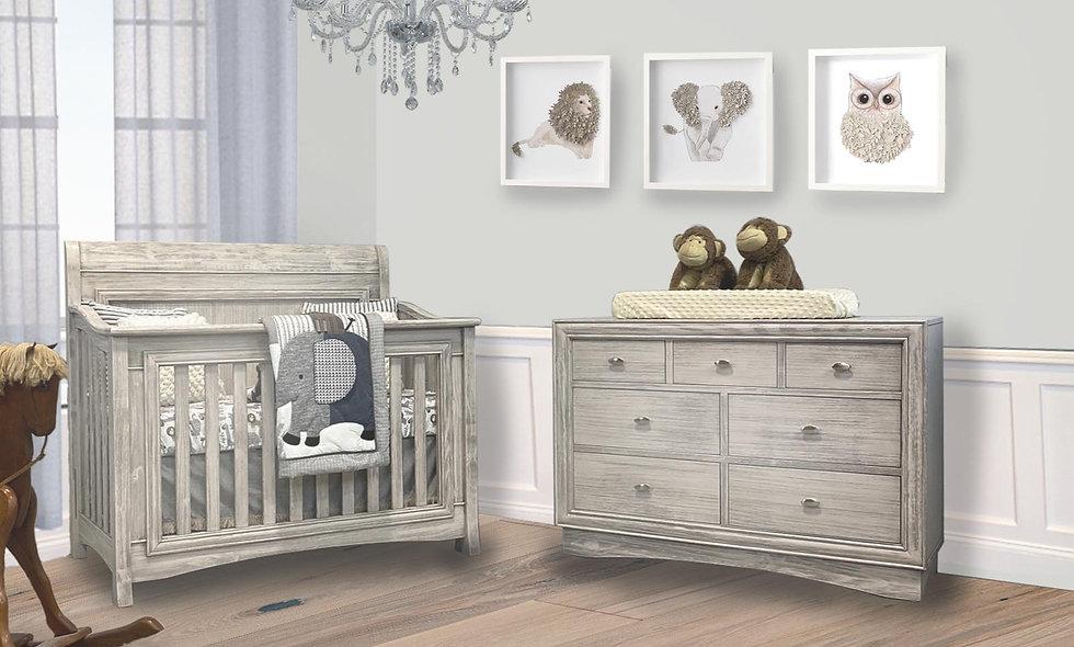 Preston Crib 3-in-1 + Preston Dresser + FREE Mattress in Vintage White