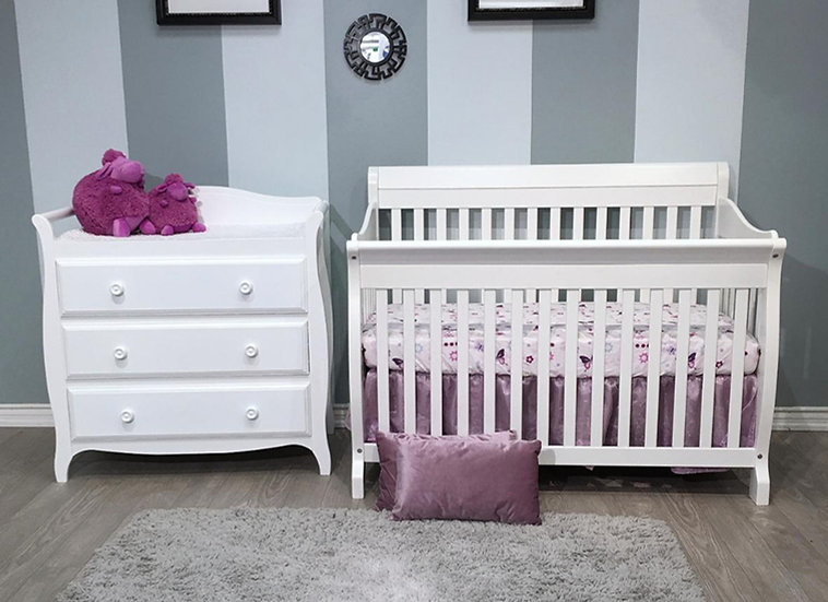 Naples Crib and Changer set in White