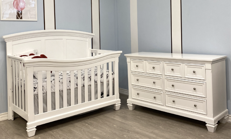 Britney Crib with Glendale dresser and Simmons Mattress