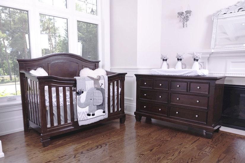 Victoria crib, Glendale dresser, Hayley glider, change and a mattress