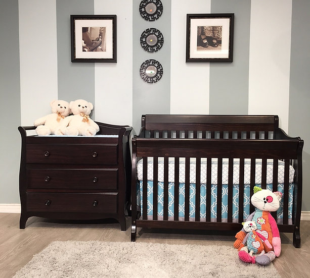 Naples crib and dresser set in Espresso Finish