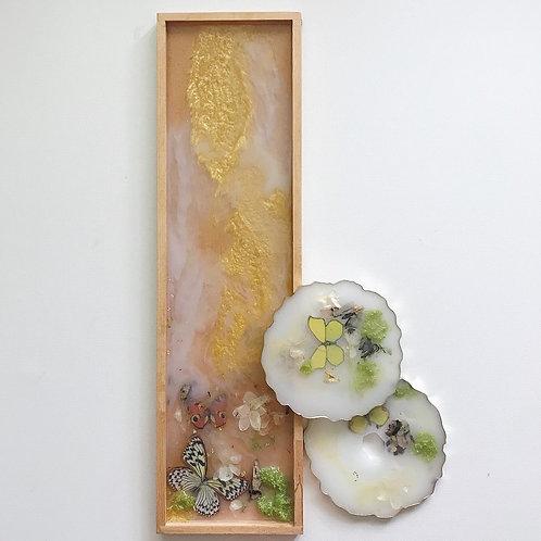 Golden Milk Floral Tray & Coaster set