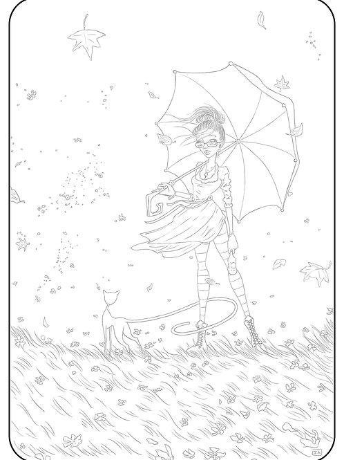 La femme au parapluie. Coloriage