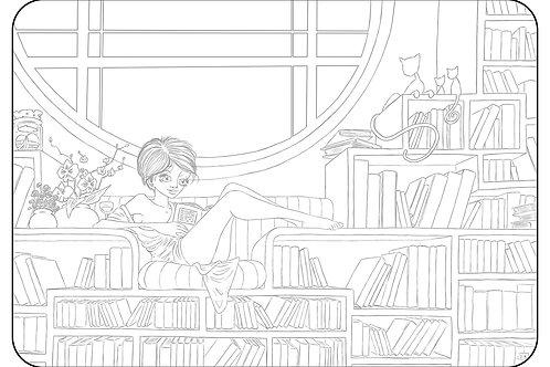 La Bibliothèque. Coloriage