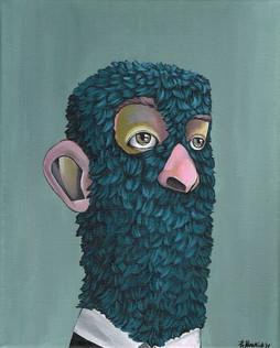 Kana Mick blue sheep painting
