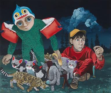 Kana Mick Der falsche Köder art painting Katzen
