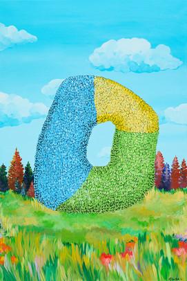 Kana Mick Pianting art fell Buchstabe in Landschaft