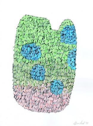 Kana Mick Design Form Skulptur grün-pink