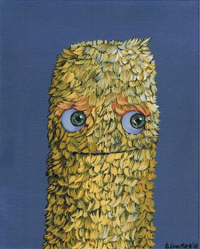 Kana Mick Die Pommes painting gelbes Fellwesen mit Kulleraugen