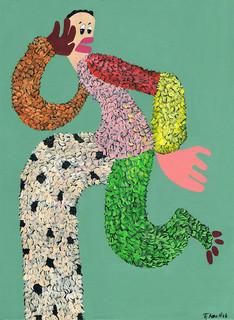 Kana Mick Heidi  tanzende Fellfigur Painting art Bremen