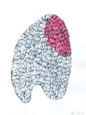 Kana Mick Design Form Skulptur weiß-pink